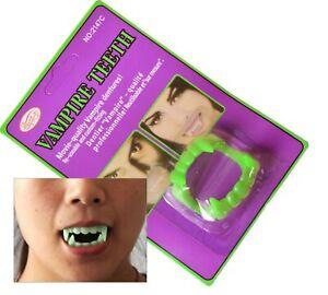 Adult Kids Spooky Plastic Green Werewolf Vampire Fake Halloween Fangs Teeth