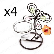 4x Butterfly & Flower Design Tealight Wire Candle Stand Holder Glass Decoration