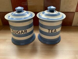 FAIRMONT AND MAIN STRIPE TEA & SUGAR CERAMIC CANISTER Delph Blue Stripe