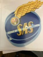 Old Vintage Scandinavian AIRLINES Luggage LABEL FLOWN By SAS