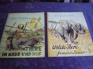 2 vieux Albums de Découpures__ 1955-56 __ Animaux Maison Etc. Hof __ Wilde __
