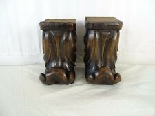 Two French Antique Carved Wood Corbel - Wall Shelf Decor - Walnut Wood