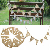 MR&MRS JUST MARRIED Jute Burlap Hessian Bunting Shabby Wedding Party Banner DIY