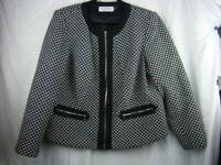 CALVIN KLEIN Womens Black Zip Up Jacket Blazer Textured Size 16W CL-22