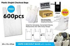 600pcs Plastic Singlet Shopping Carry Checkout Bag Medium 24cmx13cmx47cm White