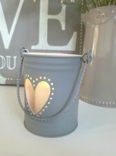 Pretty Shabby Chic Grey Heart Candle Holder