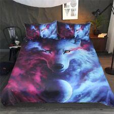 Wolf Galaxy Duvet Quilt Cover Universe Bedding Set Pillowcase Single Double King