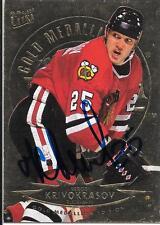 Autograph Sergei Krivokrasov 1994-1995 Fleer Ultra Hockey TC Chicago Blackhawks