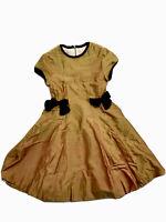 Bonpoint Girls Gold Silk Velvet Bow Dress Size 10 Orig.$369