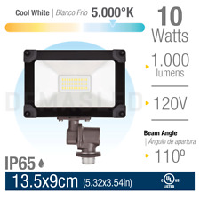 Led Floodlight with Knuckle Ip65, Cool White 10W 1000lm 110-120V
