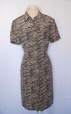 Adrianna Papell Silk Animal Print Shirt Dress Size 10   #0324161