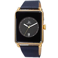 New Men's Joshua & Sons JS95BU Quartz Rectangular Date Blue Leather Watch