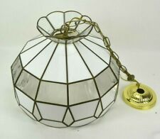 Vintage Stained Glass Hanging Lamp Replacement Shade Kitchen White Clear Fixture