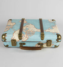 VINTAGE Around The World Map VALIGIA camera da letto di archiviazione da Sass & Belle