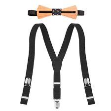Wooden Bow Tie w/Matching Y-Back Suspender 2 Pc Set Childrens Baby Toddler Black