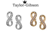 925 Sterling Silver 14ct gold plated Infinity ear studs CZ earrings womens UK