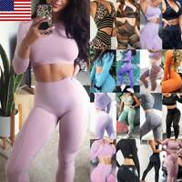 Women's Seamless Fitness Yoga Suit Push Up Leggings+Crop Top Sports Gym Set Bra