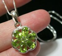 New Sterling SILVER Natural PERIDOT Gem Stone 6.64cts Pendant Chain Necklace