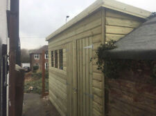 12x8' Wooden Summerhouse Shed Garden Pent Fully Insulated T/G Roof Red Ply Board