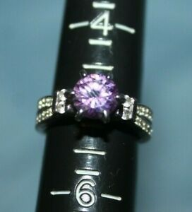 Beautiful Estate Sterling Silver Amethyst &t CZ Engagement Solitaire Ring Size 5