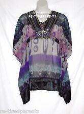 CAFTAN BABY DOLL TOP - SEMI-SHEER – SEQUINS – PLUS SIZE 1 X – NWT $52