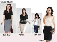 Women Ladies Plain Office High Waist Stretch Bodycon Pencil Skirt OL Mini Dress