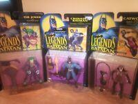 Kenner legends of batman Carded Figure Lot, Batman, Joker, Catwoman, 1994