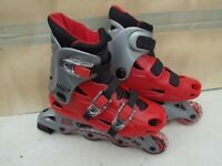 CHILDS XRT WARP 2 INLINE ROLLER SKATES,SIZE 1 UK,WELL PADDED,REAR STOPS,CLEAN