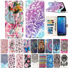 Painting Magnetic Flip Leather Wallet Card Case Stand Cover For Samsung Phones