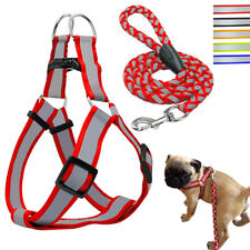 Nylon Step-in Pet Dog Harness and Leash Quick Fit Vest Reflective for Dogs S M L