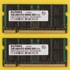 4GB (2x 2GB) DDR2 PC2 6400 800Mhz Elpida 204 Pin SoDimm RAM Laptop NoteBook
