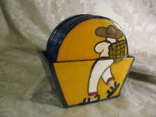 Vintage Set of Man with Sombrero Coasters with Holder Made in Mexico