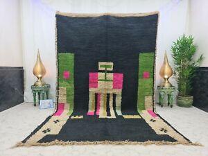"Handmade Moroccan Vintage Boujad Rug 6'3""x10'1"" Berber Abstract Black Green Rug"