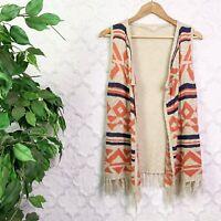 Boho Aztec Print Fringe Open Cardigan Sweater Vest Size Medium