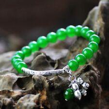 Miao Silver Ethnic Green chalcedony Bracelet 241