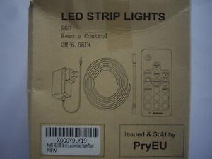 PRYEU RGB COLOUR CHANGING LED STRIP LIGHTS + REMOTE CONTROL 2 METRES WATERPROOF