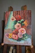 Ancienne peinture huile sur bois - Bouquet de fleurs signé
