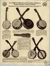 1930 PAPER AD Weissenborn Artist Model Johnny Marvin Stewart Ukulele Tonk Banjo