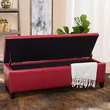 Contemporary Red Leather Storage Ottoman Bench