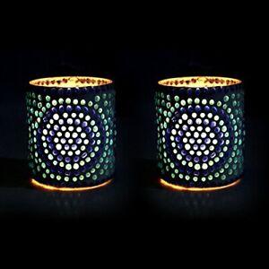 Blue Polka Mosaic Decorated Tealight Holder Candle Light Holder - Set Of 2