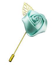 Bavero Fiore Camellia BOUTONNIERE PIN Camicia Da Uomo Suit Tie ORO menta verde spilla