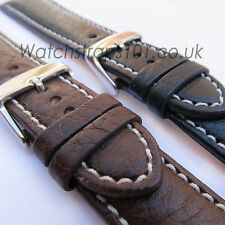 LEATHER WATCH STRAP - ITALIAN BUFFALO CALF - Stitched Black or Brown, 20 or 22mm