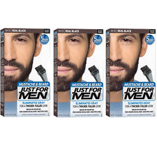 3 Pack JUST FOR MEN Color Gel Mustache - Beard M-55 Real Black 1 Each