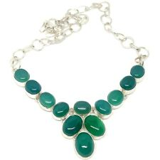 Natural Green Onyx GemStone Necklace 925 Sterling Silver Plated Jewelry