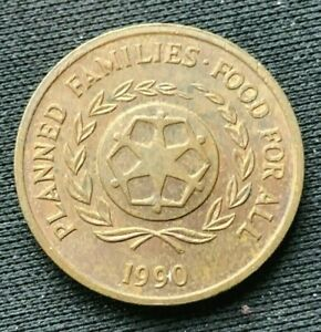 1990 Tonga 2 Seniti Coin AU     Bronze World Coin     #K1427