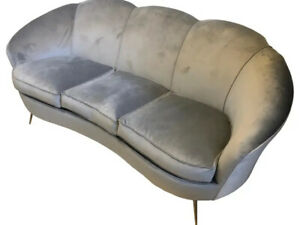 Gio Ponti Style mid-Century Modern Brass And Velvet Curved Sofa, About 1950