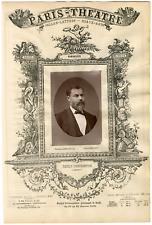 Lemercier et Cie, Paris-Théâtre, Émile Richebourg (1833-1898), romancier Vintage