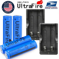 4PCS UltraFire Battery 3.7v Rechargeable Batteries + Dual Charger US Stock