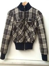 Guess Jeans Womens Plaid Jacket Coat Full Zip Navy Blue Cream XS