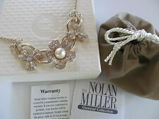 """Nolan Miller Floral Giselle Crystal & Simulated 10mm Pearl 16+2"""" Necklace NWOT"""